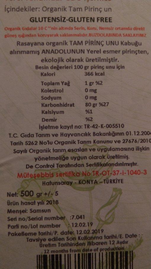 Rasayana-Organik Tam Pirinç Unu 2